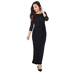 The Collection - Black Glitter Spot Petite Maxi Dress