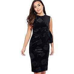 The Collection - Black Velvet Floral Embossed Knee Length Petite Dress