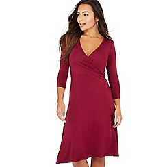 The Collection Petite - Wine red petite mock wrap dress