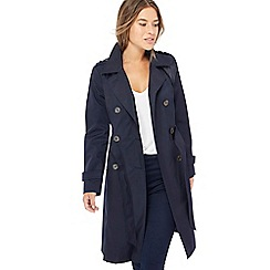 The Collection Petite - Navy double breasted cotton blend petite trench coat