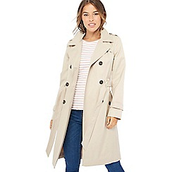 The Collection Petite - Natural double breasted cotton blend petite trench coat