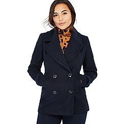 The Collection Petite - Navy double breasted petite peacoat
