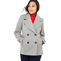 The Collection Petite - Light grey double breasted petite peacoat
