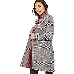 The Collection Petite - Multicoloured check print petite city coat