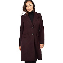 The Collection Petite - Dark purple single breasted petite city coat