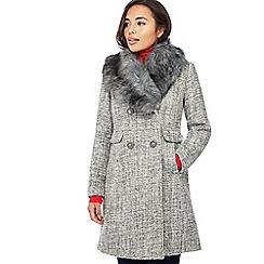 The Collection Petite - Grey Faux Fur Collar Petite Coat