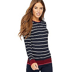 The Collection Petite - Navy stripe print zipped shoulder petite jumper