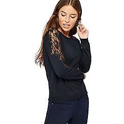 The Collection Petite - Navy lace sleeve petite jumper