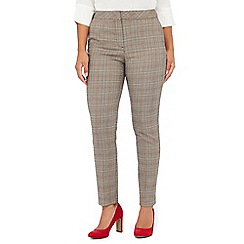 The Collection Petite - Grey Prince of Wales checked slim fit petite trousers