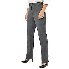 The Collection Petite - Grey textured straight leg trousers