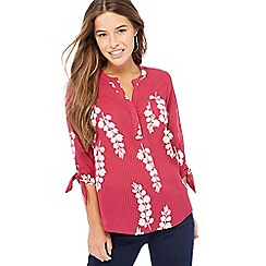 The Collection Petite - Wine floral print V-neck tie sleeve petite blouse