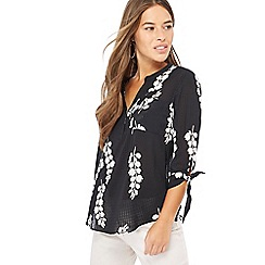 The Collection Petite - Black floral print V-neck tie sleeve petite blouse