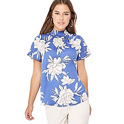 The Collection Petite - Blue floral print high shirred neck petite top