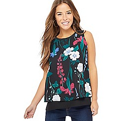 The Collection Petite - Black floral print sleeveless top