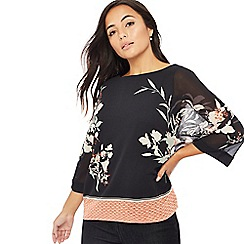 The Collection Petite - Black floral print petite kimono