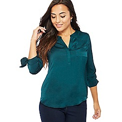 The Collection Petite - Green satin tie sleeve petite utility top