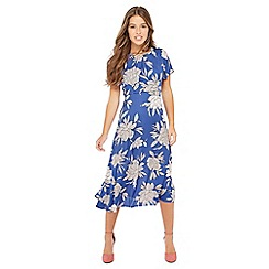 The Collection Petite - Blue floral print petite midi dress
