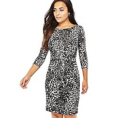 The Collection Petite - Black leopard print knee length petite dress