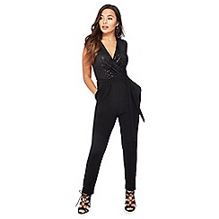 The Collection Petite - Black Sequinned Petite Jumpsuit