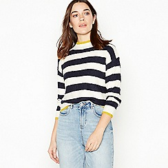 The Collection Petite - Ivory Striped High Neck Petite Jumper