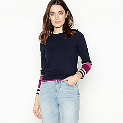 The Collection - Navy Striped Hem Back Zip Petite Jumper