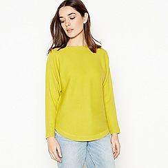 The Collection - Lime Ribbed Dolman Sleeve Petite Jumper