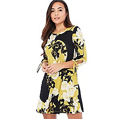 The Collection - Black Floral 'Hana' Knee Length Petite Swing Dress