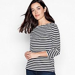 Principles Petite - Navy Striped Cotton Petite Top