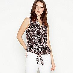 Principles Petite - Dark Pink Leopard Print Tied Front Petite Top