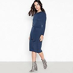 Principles Petite - Navy Cupro Tie Front Knee Length Petite Dress