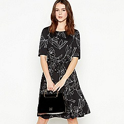Principles Petite - Black Floral Knee Length Petite Skater Dress