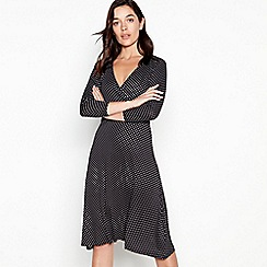Principles Petite - Black Spot Print Midi Petite Wrap Dress
