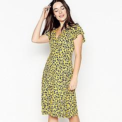 Principles Petite - Yellow Leopard Print Knee Length Petite Mock Wrap Dress