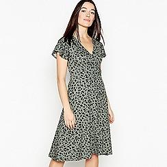 Principles Petite - Khaki Leopard Print Knee Length Petite Mock Wrap Dress