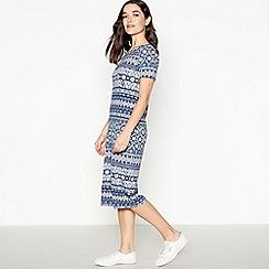 Principles Petite - Navy Tile Print Petite Midi Dress