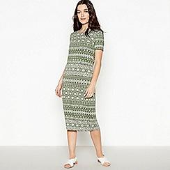 Principles Petite - Khaki Tile Print Petite Midi Dress