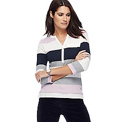 Maine New England - Lilac block striped granddad collar top