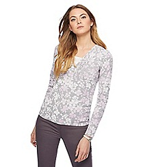 Maine New England - Grey floral print mock top