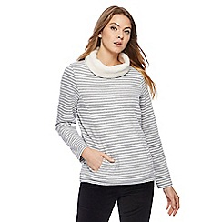 Maine New England - Grey striped borg lined cowl neck sweater