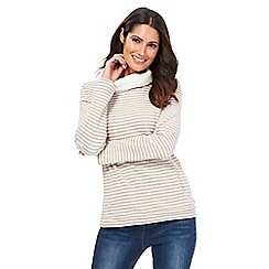 Maine New England - Pale grey striped borg lined cowl neck sweater