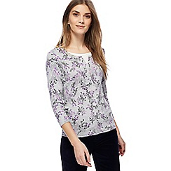 Maine New England - Lilac floral print mock top
