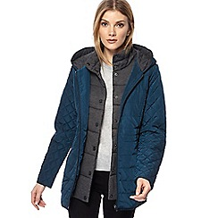 Maine New England - Dark turquoise hooded quilted jacket