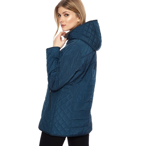 quilted New Dark jacket hooded turquoise England Maine p0qXn