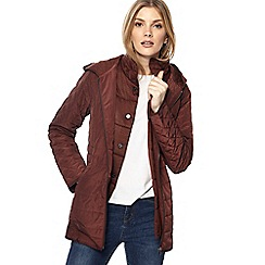 Maine New England - Chocolate brown hooded quilted jacket
