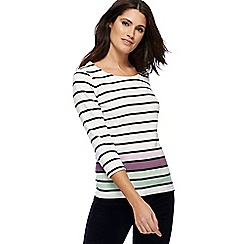 Maine New England - Off white stripe print top