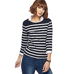 Maine New England - Navy striped mock collar top