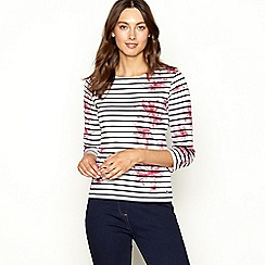Maine New England - Bright pink striped floral print top