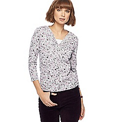 Maine New England - Grey floral print top