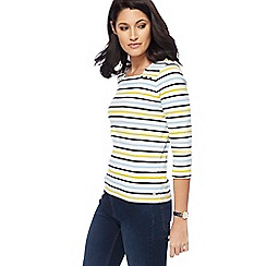Maine New England - Off white striped top