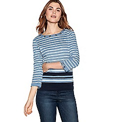 Maine New England - Blue striped eyelet neck top